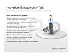 The tasks and responsibilities of innovation management: 1. Determination and implementation of innovation targets and innovation strategies. 2. Identification of future customer requirements and innovation strategies. 3. Development of correct answers in the form of marketable products and services. 4. Decision on the implementation of innovations. 5. Plan and control innovation processes. 6. Creation of corporate innovation structure. 7. Motivate employees to participate actively and…