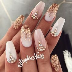"""Double tap if you're guilty of mixing #glamandglits acrylics to create your very own custom colors!!  Color shown is """"almost nude"""" mixed with """"beyond pale"""" and """"heatwave"""" by brand ambassador @_stephsnails_ !! #nailstagram #nails2inspire #nailart #acrylicnails #nailswag #notpolish"""