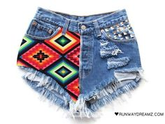 Olivia Aztec Vintage Studded Frayed Shorts by Runwaydreamz Diy Shorts, Aztec Shorts, Print Shorts, Studded Shorts, Vintage Shorts, Vintage Levis, Swagg, High Waisted Shorts, Diy Clothes
