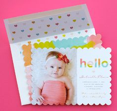 Share your good news with an extra spot of style. Add a beautiful envelope liner to make your birth announcement even more precious.