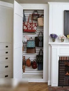 17 Creative Bags Storage Ideas | Shelterness-Boy do i LOVE this one for my purses!!