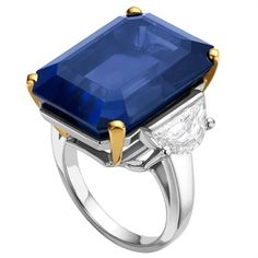 Bulgari - Ring in platinum and yellow gold with blue octagonal sapphire (38.40 ct) and diamonds. High Jewellery collection.