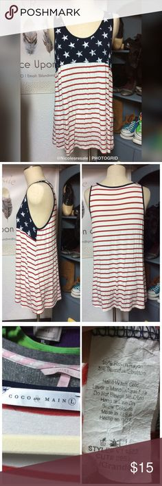 Coco & Main Large Americana Tank Large Coco & Main Large Americana Tank Large  Red white blue Rayon spandex blend  Tunic length Swing style  Gently used consignment piece.  Need more information or measurements? Please message me.  I love to bundle and accept reasonable offers.  Thanks for checking out my closet. I list new items daily so please check back Coco & Main Tops Tank Tops