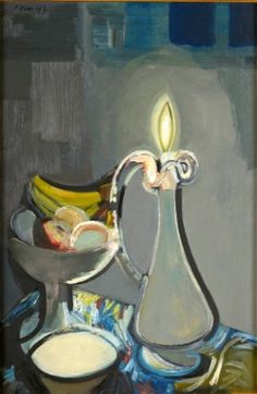 """""""Nature morte à la carafe et aux fruits"""", 1947, - With the end of the war the prohibition of degenerate art (Entartete Kunst) ended and room was made for new experiences. Brussel's Palace of Fine Arts took the lead and exhibited 'La Jeune Peinture Française' in 1945. Soon after the artist association 'Jeune Peinture Belge' is launched by Robert Delevoy. The re-discovery of Picasso's expressive decomposition of reality will become the main source for experiment within the new association. ."""