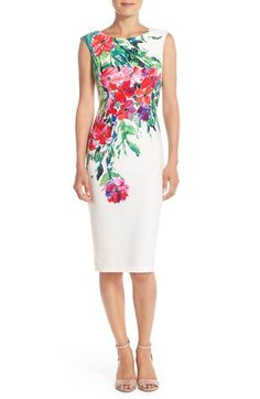 Perfect for Mother's Day! <3 Free shipping and returns on Gabby Skye Floral Print Scuba Sheath Dress at Nordstrom.com. Placed floral designs breathe an air of elegance into this sleek scuba-knit dress crafted with figure-flattering princess seams and a chic midi-length hem.