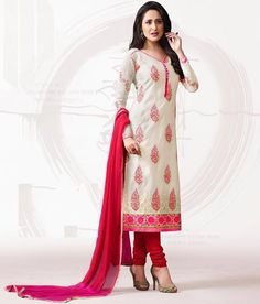 Naksh - Magnificent Off White And Red Chanderi Silk Suit Lehenga Suit, Silk Suit, How To Look Classy, Floral Motif, Off White, Chiffon, Pure Products, Suits, Elegant