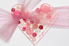 Handmade Valentines Day card using buttons Stock Photo