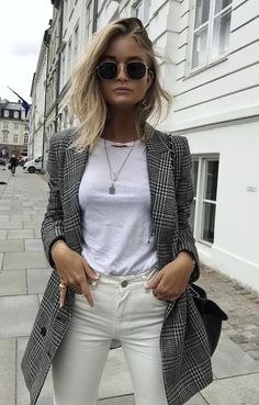 I have this but in a boyfriend style blazer....love it shown with the distressed tee.