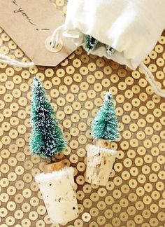 snowy tree wine toppers