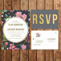 Destination Wedding Invitation, Printable, Black, Lavender, Tropical, Floral, Vintage, Sophisticated, Upscale, Modern, Postcard