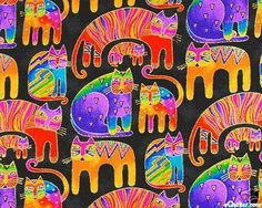 Laurel Burch cat fabric. I'd have a small cat-stuff section, also for Momma.