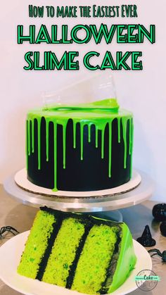 How to make a creepy-looking but delicious Halloween green 'slime' drip cake! Super simple and perfect for any Halloween party! How to make a creepy-looking but delicious Halloween green 'slime' drip cake! Super simple and perfect for any Halloween party! Halloween Snacks, Plat Halloween, Comida De Halloween Ideas, Halloween Torte, Postres Halloween, Recetas Halloween, Hallowen Food, Women Halloween, Costume Halloween