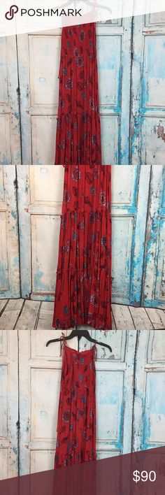 NWT Free People floral maxi NWT Intimately Free People Red Floral Maxi dress. Garden Party! Gorgeous floral print, halter neck line, tiered skirt. Has a snicker elastic bodice with adjustable self ties on shoulders. So pretty! Size is Medium. Fabric is soft rayon. Free People Dresses Maxi