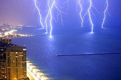 Six simultaneous lightning strikes over Lake Michigan.