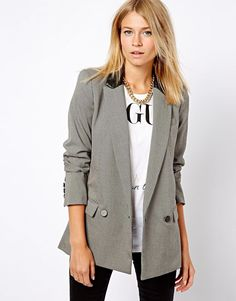 Mango Jacket houndstooth  Leather Collar