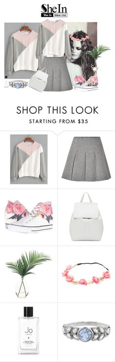 """""""block sweatshirt from shein"""" by ultimate-j4u ❤ liked on Polyvore featuring T By Alexander Wang, Converse, Mansur Gavriel, NDI, Jo Loves and Cathy Waterman"""