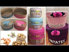 Making 3 vegetable storage basket for potatoes and onions Craft Stick Crafts, Diy And Crafts, Recycling, Vegetable Storage, Colourful Living Room, Crewel Embroidery, Recycled Crafts, Home Decor Furniture, Storage Baskets