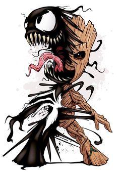 Incrível papel de parede dos personagens Venom e Grrot em uma fusão ! #wallpaper #papeldeparede #venom #grrot #spiderman
