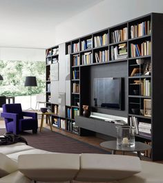 Home Library Rooms, Home Library Design, Home Libraries, Home Office Design, Interior Design Living Room, Living Room Designs, Modern Tv Room, Living Room Modern, Home Living Room