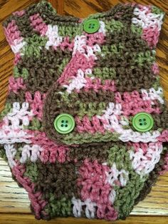 Handmade Crochet All In One Adjustable Diaper Cover -Camouflage - NB to 3 months #Handmade #Everyday