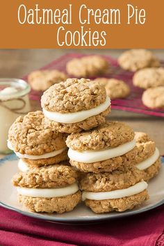 Try this Homemade Oatmeal Cream Pie recipe. Soft oatmeal cookies sandwiched with cream cheese filling. Tastes just like the ones you remember, but even better because they are homemade. Soft Oatmeal Cookies, Oatmeal Cream Pies, Brownie Recipes, Cookie Recipes, Dessert Recipes, Camp Snacks, School Snacks, Party Snacks, Summer Snacks