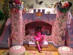 Girls Princess castle bunk bed with all of her Disney princess toys! #princess #kidsfurniture  [custom built by www.SweetDreamBed.com ]