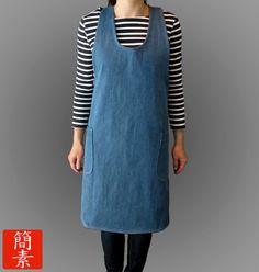 "Japanese Apron - The Original ""No Ties"" Apron - Womens - Classic Blue Denim. $45.00, via Etsy."