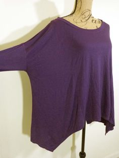 Artist tunic lagenlook top artsy art to wear quirky purple reuse 4 planet sz OS #Unbranded #BoatNeck #Casual