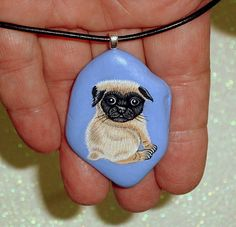 Pug dog, stone pendant, leather necklace, statement jewelry, Valentine's gift for her, hand painted rocks by RockArtiste, $35.00