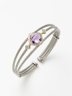 Faceted Amethyst Celtic Cable Cuff by Charriol at Gilt