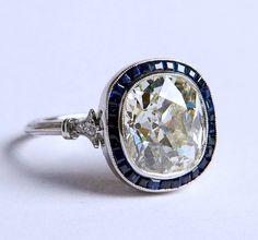 6.31ct Cushion Diamond Engagement Ring GSI1 Art por blueriver47, $39985.00