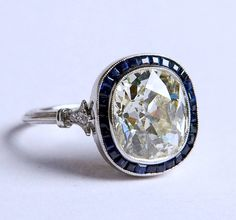 4.12ct Cushion Diamond Engagement Ring H-VS2 Art Deco Sapphire Halo EGL certified 18kt White Gold Blueriver47 on Etsy Fine Jewelry on Etsy, $20,985.00