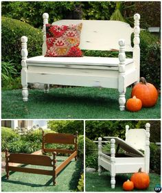 DIY Bed Turned Garden Bench with Storage