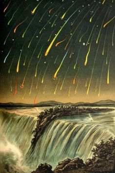 The Night the Stars Fell in 1833 as seen from Niagara Falls- An engraving showing the 1833 Leonid meteor storm; a second image, showing the storm over Niagara Falls