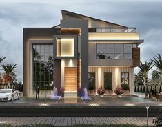 New post-modern villa in OMAN on Behance Modern Villa Design, Unique House Design, House Front Design, House Architecture Styles, Architecture Details, Modern Architecture, House Contemporary, Fachada Colonial, Double Storey House