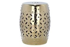 living room accents Aurora Ceramic Garden Stool, Gold on OneKingsLane.com