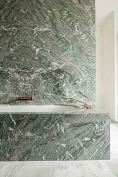 green marble, brass bathroom fixtures | Natural Stone | Hullebusch