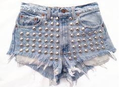 Vintage, cutoff, shredded,  destroyed,  grunge, omen eye, short, shorts, studded, distressed, denim, high waisted, cut off