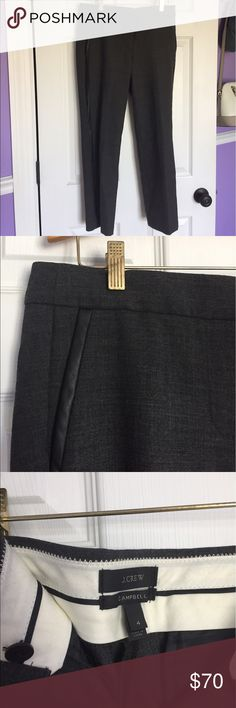 J. Crew Campbell Pants Gray Wool w leather These classic J. Crew Campbell pants have a twist, they have leather piping down the side making them the perfect combination of classy and fashionable! They're made of wool so they're great in the winter, but cropped so you could wear them later summer and in the fall! They're great quality and in like new condition. J. Crew Pants Trousers