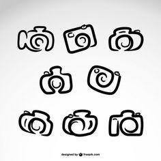 Logos câmera desenhado mão