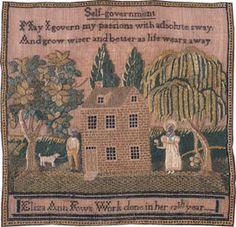 "Philadelphia sampler by Eliza Ann Fow, age 11, ca. 1825. Verse is titled ""Self-Government."" Courtesy of M. Finkel & Daughter, Philadelphia, Penn."