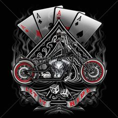 Biker T Shirts Vintage Bobber Motorcycle Chopper Gambler Aces Small to 6X & Tall #PitStopShirtShop #GraphicTee
