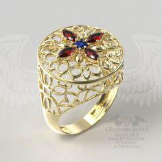 Glorious Eslimi ring with CZ stone / 925 by GloriousJewelOnline