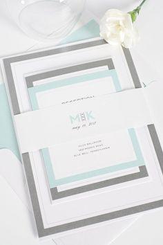 Modern mint wedding invitations    Shine Wedding Invitations