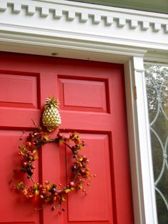 """paint color is Benjamin Moore's """"Heritage Red"""" - the perfect red door color!!"""