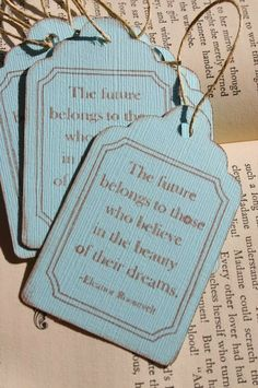 Hand Stamped Gift Tag Set of 6 The Future by forgetmenotdreams, $4.00