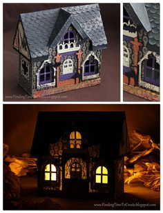 Finding Time to Create: Paper Halloween House created with my Silhouette Halloween Village, Halloween Doll, Halloween Haunted Houses, Halloween Home Decor, Halloween Projects, Diy Halloween Decorations, Halloween House, Holidays Halloween, Paper Halloween
