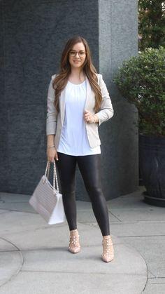 Blazer & Leggings Outfit Idea | Women's Fashion