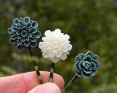Woodland barettes cheveux faits à la main de clips nature inspiré fleur cheveux broches épingles fantaisistes bois Accessoires cheveux de mariage