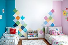 How to: Colorful Accent Wall for Kids Room. How to: Colorful Accent Wall for Kids Room - Anika's DIY Life. How to paint a colorful accent wall. Step by step tutorial to easily paint a DIY geometric accent wall in under 6 hours. Perfect idea for kids room! Boy And Girl Shared Room, Shared Boys Rooms, Boy Girl Bedroom, Shared Bedrooms, Girl Room, Room Boys, Kids Rooms, Unisex Kids Room, Twin Room